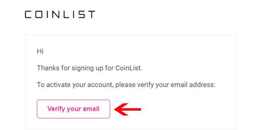 Kích hoạt tài khoản Coinlist