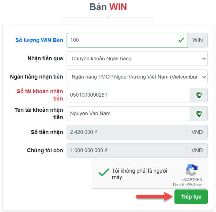 Bán WIN trên MuaBanCoin.io