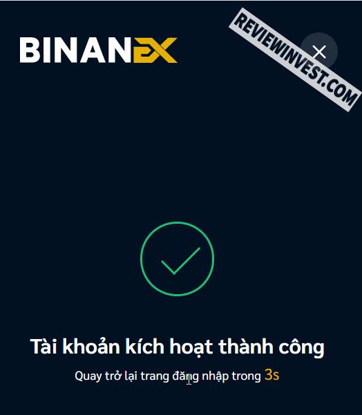 Tài khoản Binanex kích hoạt thành công