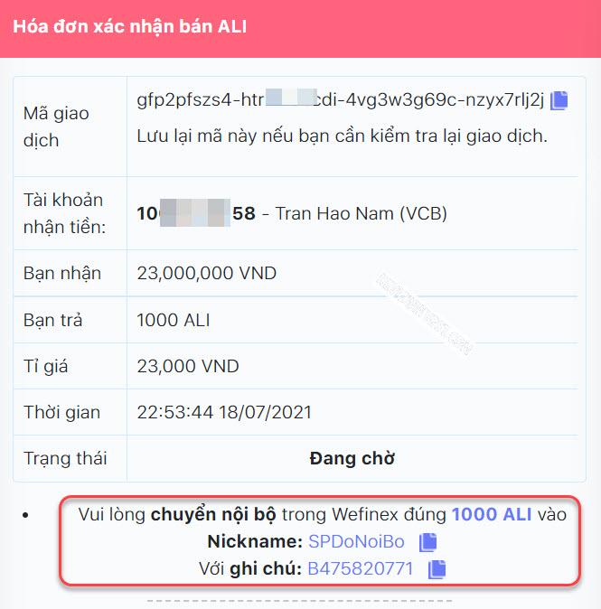 Thông tin chi tiết đơn hàng bán ALI