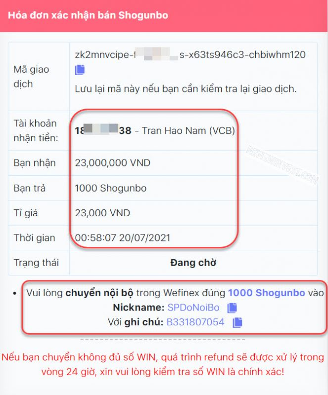 Thông tin chi tiết đơn hàng bán Shogunbo