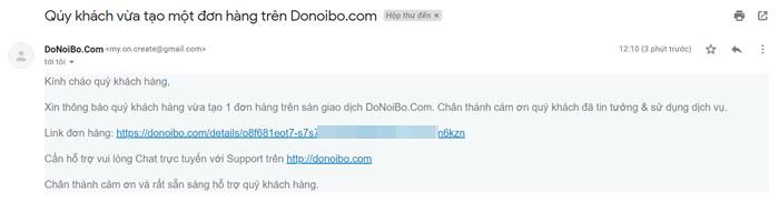 Email thông báo đơn hàng mới