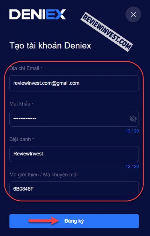 Đăng ký tài khoản Deniex