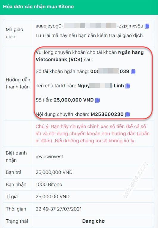 Chi tiết đơn hàng mua Bitono