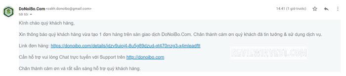 Email thông báo đơn hàng mới trên DoNoiBo.Com