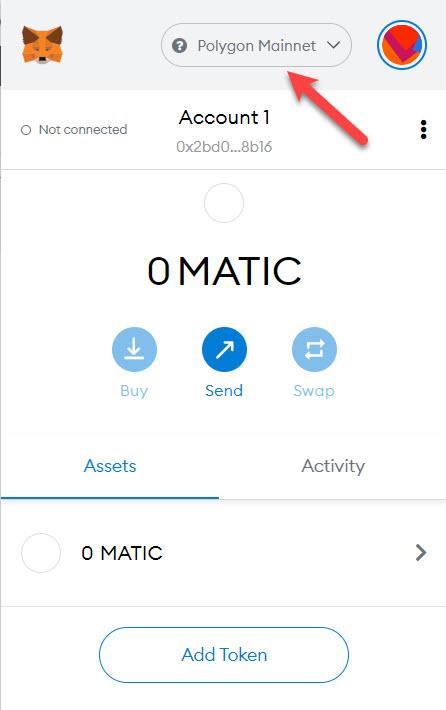 Đã thêm thành công Matic vào Metamask
