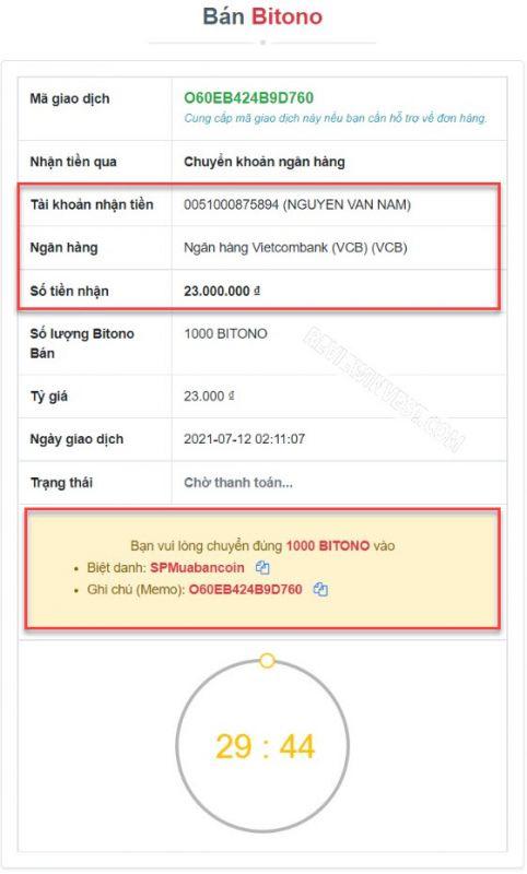 Thông tin nhận VND và chuyển Bitono