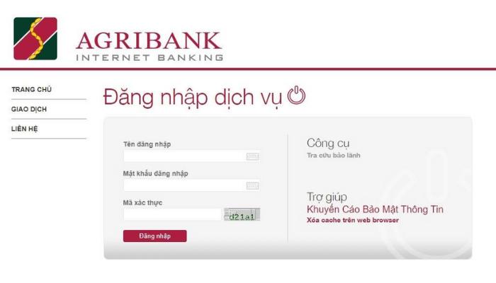 Cách đăng nhập Internet Banking của AgriBank