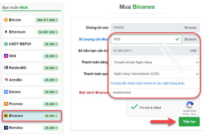 Mua Binanex trên Muabancoin.io