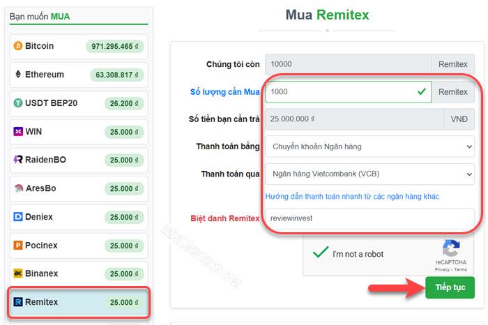 Mua Remitex trên Muabancoin.io