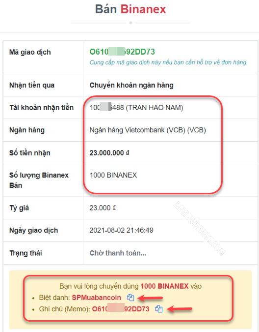 Chi tiết đơn hàng bán Binanex