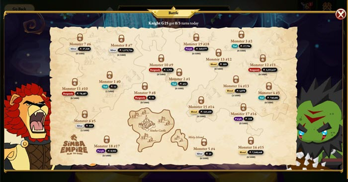 Map trong game Simba Empire