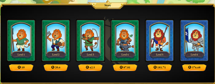 Simba từ Level 1 tới 6 trong Store