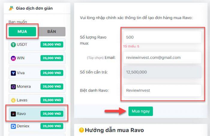 Thao tác tạo đơn hàng mua Ravo trên Muaban247.io