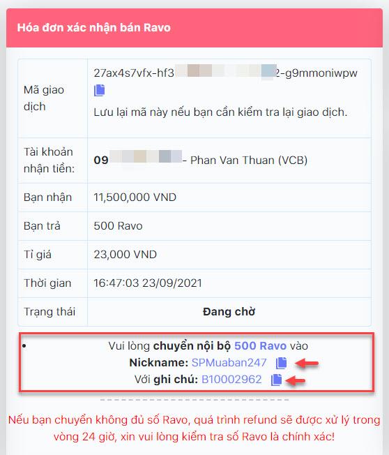 Chi tiết thông tin đơn hàng bán Ravo