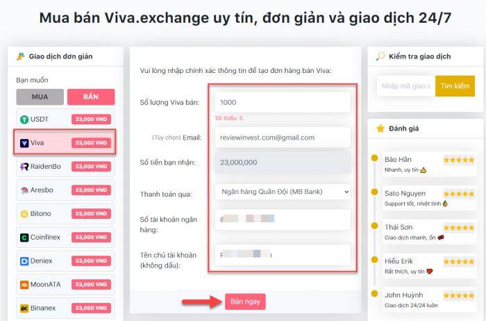 Giao diện khi tạo đơn hàng bán Viva trên Muaban247.io