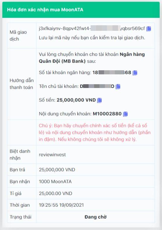 Chi tiết đơn hàng mua MoonATA