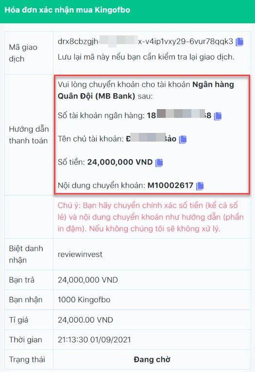 Chi tiết đơn hàng mua Kingofbo