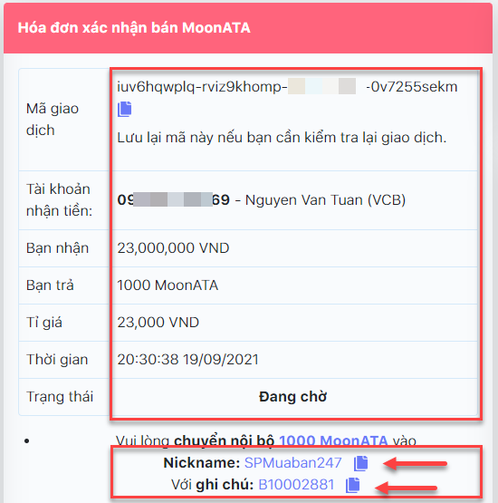 Chi tiết đơn hàng bán MoonATA