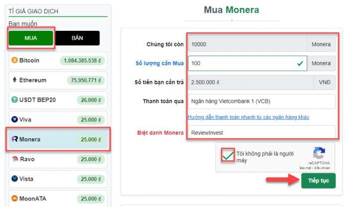 Điền thông tin để tạo đơn hàng mua Monera trên Muabancoin.io