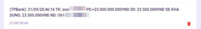 Kiểm tra lịch sử giao dịch đã thấy tiền được chuyển vào STK đã đăng ký