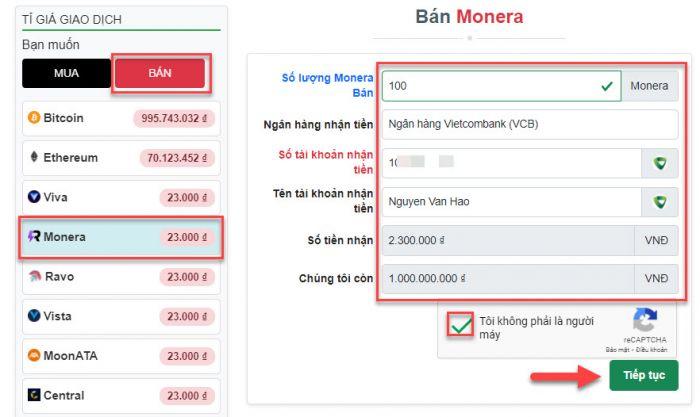 Tạo đơn hàng bán Monera trên Muabancoin.io