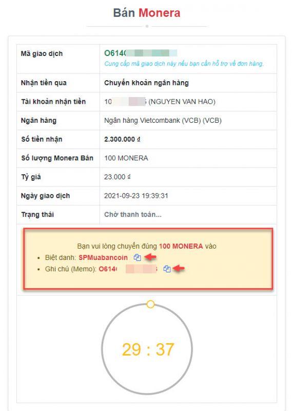 Thông tin chi tiết đơn hàng bán Monera