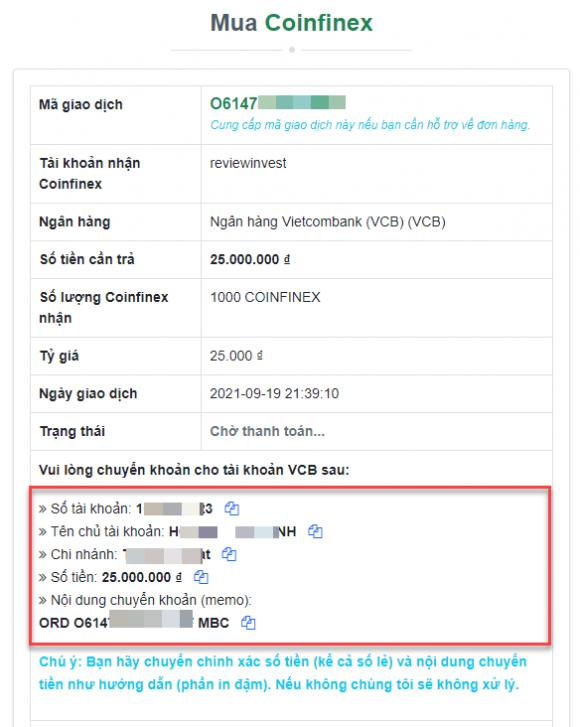 Chi tiết đơn hàng mua Coinfinex