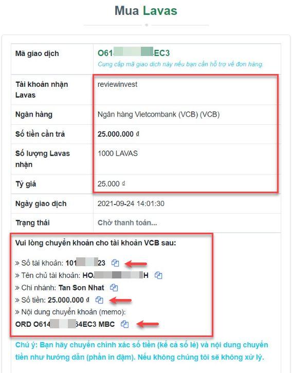 Chi tiết đơn hàng mua Lavas