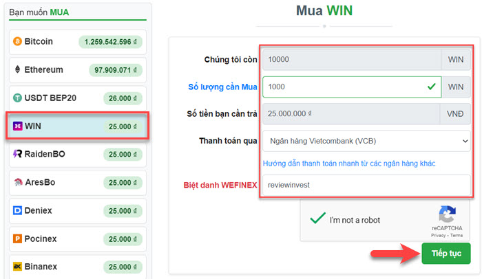 Mua WIN trên Muabancoin.io
