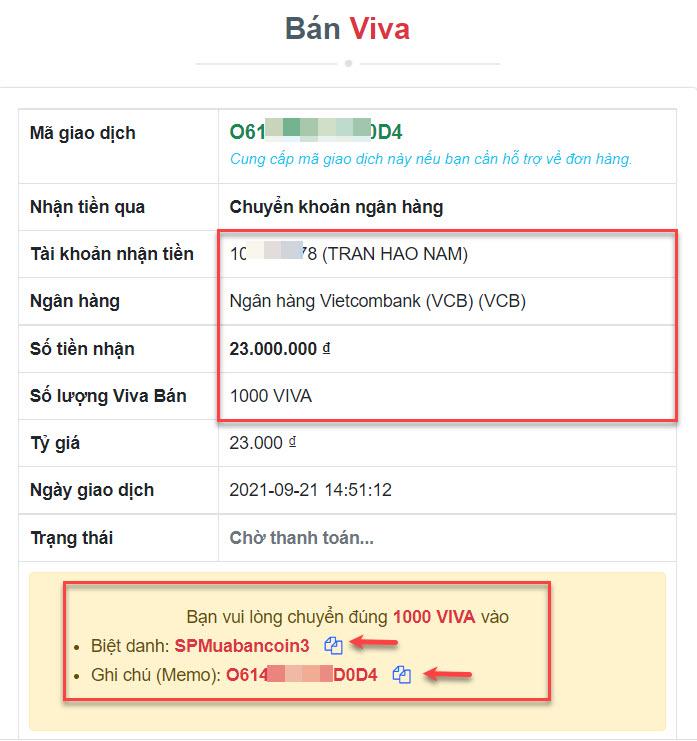 Chi tiết đơn hàng bán Viva (WIN)