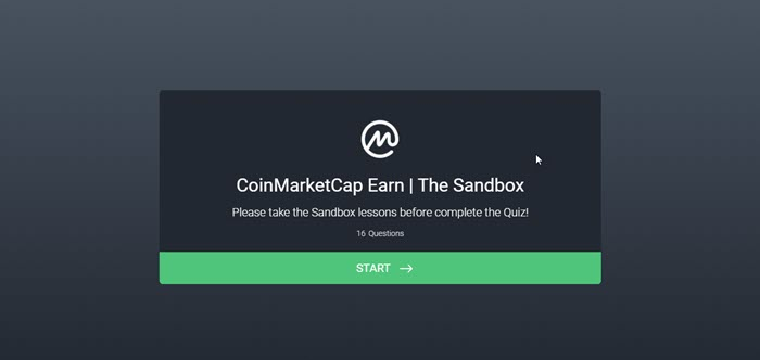 Nhấn chọn Start để tham gia The Sandbox Airdrop trên Coin Market Cap