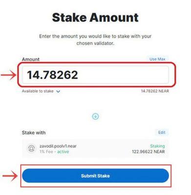 Nhập số Token muốn Stake và chọn Submit Stake để hoàn tất