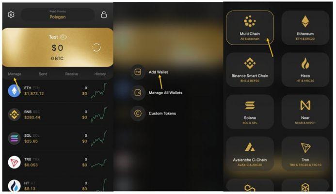 Nhấn chọn Manage và chọn ví mà bạn muốn tạo