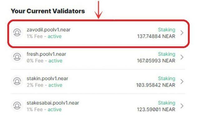 Nhấn Chọn Valicator mà bạn muốn Unstake