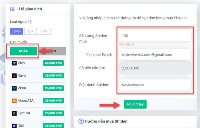 Tạo đơn hàng mua Shiden (Kitanex) trên DoNoiBo.Com