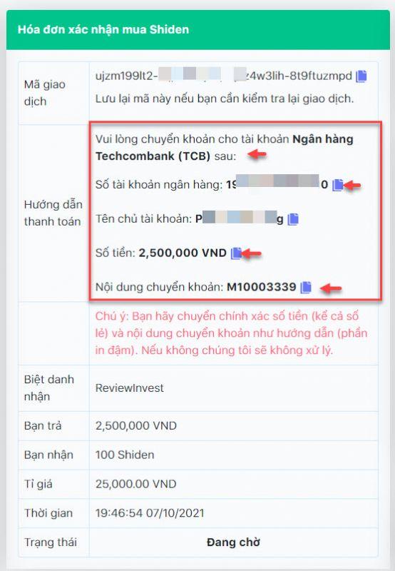 Thông tin chi tiết đơn hàng mua Shiden trên Muaban247.io