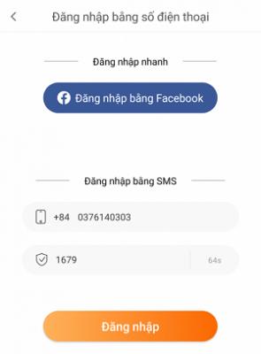 Đăng nhập theo facebook hoặc số điện thoại